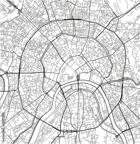Fototapeta Black and white vector city map of Moscow with well organized separated layers