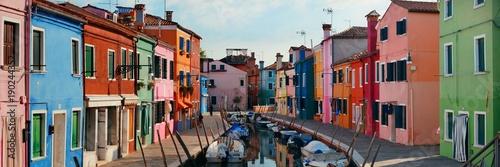 Stampa su Tela Colorful Burano canal panorama view