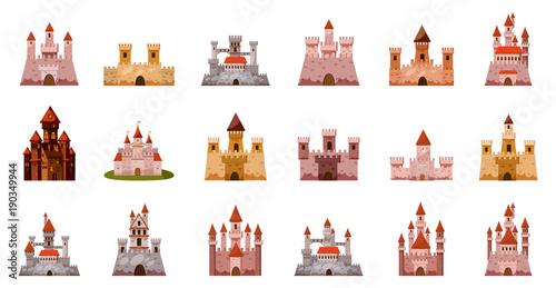 Medieval castle icon set, cartoon style Tapéta, Fotótapéta
