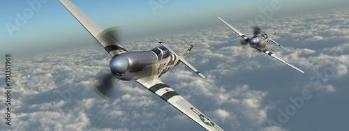 Billede på lærred Amerikanische Jagdflugzeuge aus dem Zweiten Weltkrieg über den Wolken