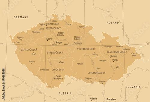 Canvas Print Czech Republic Map - Vintage Detailed Vector Illustration