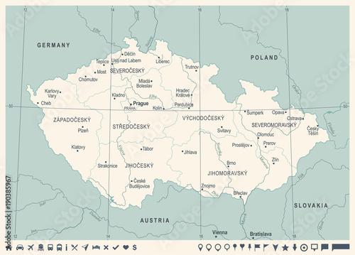 Photo Czech Republic Map - Vintage Detailed Vector Illustration
