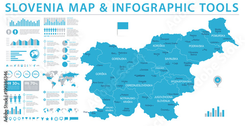Wallpaper Mural Slovenia Map - Info Graphic Vector Illustration