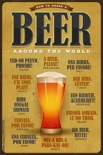 Canvas Print How To Order A Beer Around The World Poster