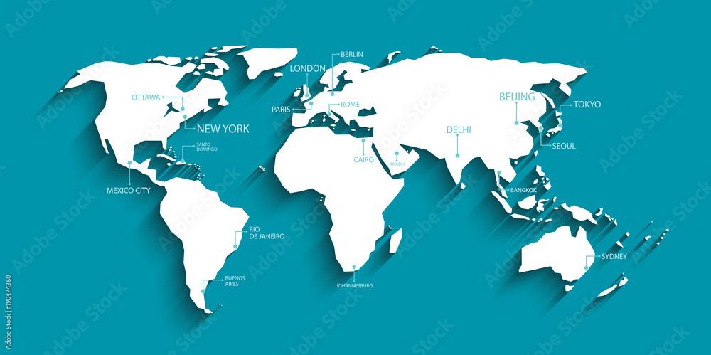 Mapa świata z cieniem i nazwą kapitału. wektor. <span>plik: #190474360 | autor: negoworks</span>