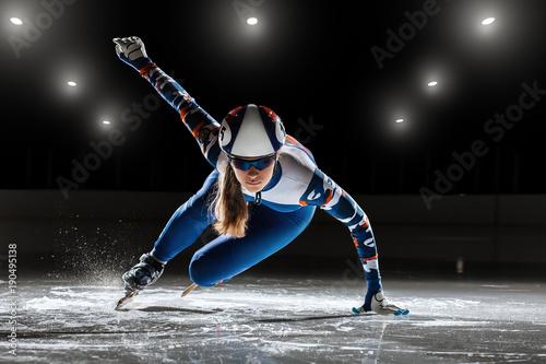 Obraz na plátně short track. athlete on ice