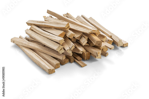 Fotografia A pile of wood fire for kindling on white background, Clipping Path