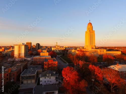 Photo Fall Color Orange Tree Leaves Nebraska State Capital Lincoln