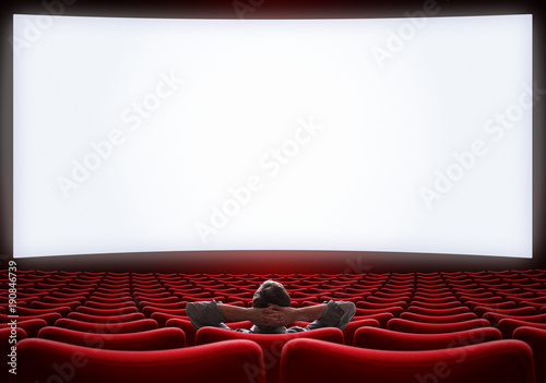 empty cinema hall with lonely VIP man sitting 3d illustration