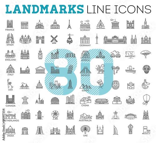 Obraz na płótnie Simple linear Vector icon set representing global tourist landmarks and travel d