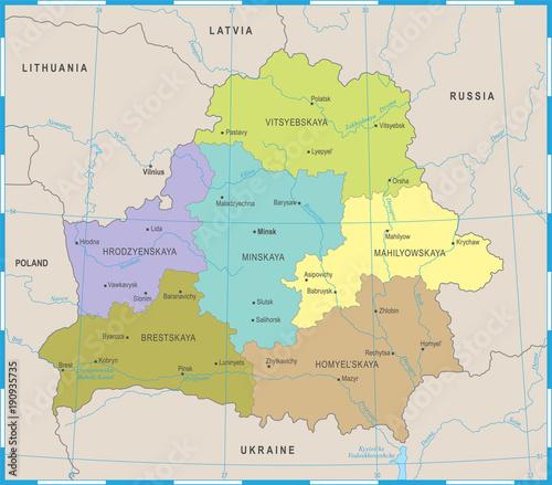 Canvas Print Belarus Map - Detailed Vector Illustration