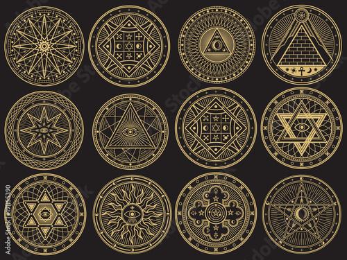Fotografia Golden mystery, witchcraft, occult, alchemy, mystical esoteric symbols