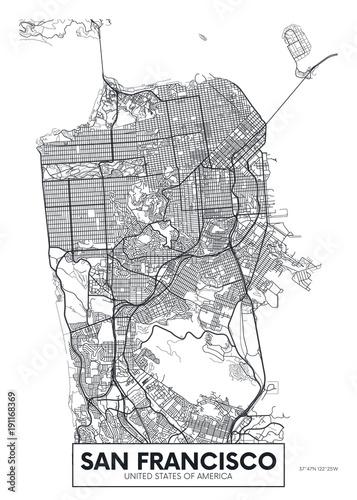 Fototapeta Vector poster map city San Francisco