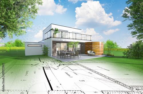 Canvas Print Projet de construction d'une maison individuelle d'architecte