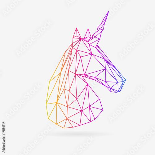 Canvas Print Vector polygonal unicorn illustration