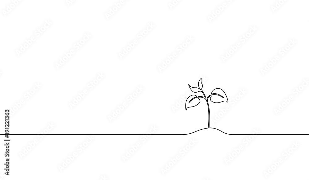 Pojedynczy kiełek rosnący w linii ciągłej. Nasiona roślin rosną nasiona sadzonki gleby eko naturalny projekt koncepcyjny gospodarstwa jeden szkic zarys ilustracji wektorowych <span>plik: #191221363 | autor: LuckyStep</span>