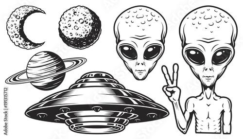 Foto Aliens and ufo set