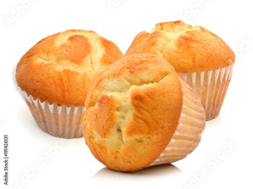 Carta da parati Tasty muffin cake, isolated on white