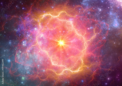 Canvas Print Exploding supernova in space, forminng of nebula