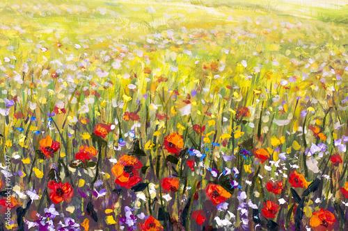 Kwiaty malujące, czerwone maki, obrazy impresjonistów krajobrazów olejnych
