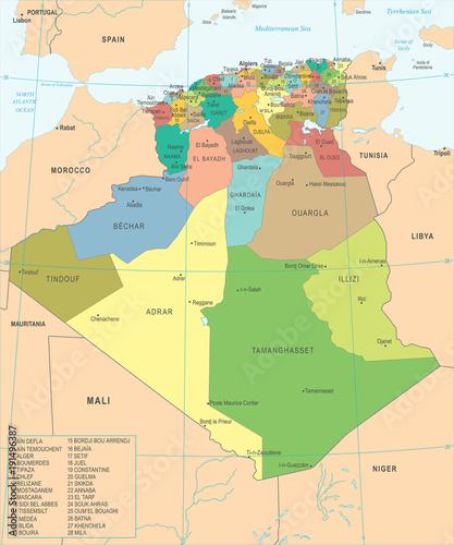 Photo Algeria Map - Detailed Vector Illustration
