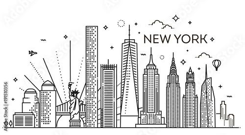 Panoramę Nowego Jorku, ilustracji wektorowych, Płaska konstrukcja