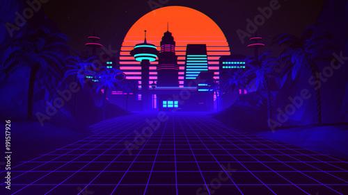 Stampa su Tela 80s Retro Synthwave Background 3D Illustration