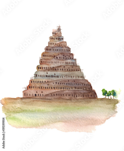 Fényképezés Watercolor hand drawn sketch illustration of Tower of Babel isolated on white