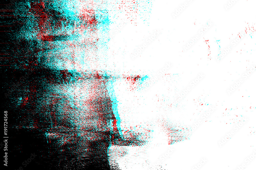 Abstract grunge photocopy texture background, Color double exposure, RGB Glitch