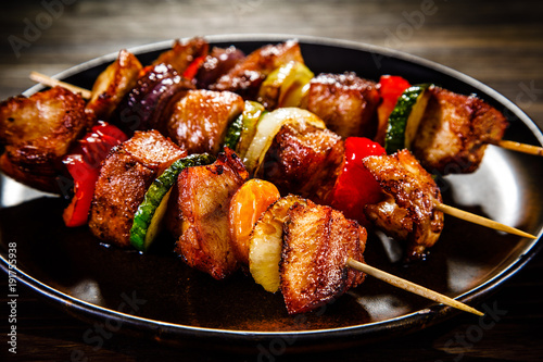 Shish kebabs - grilled meat and vegetables
