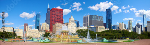Canvas Print Chicago skyline panorama with Buckingham Fountain, United States