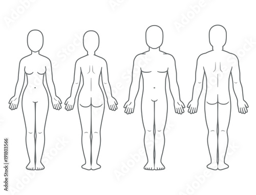 Male and female body front and back Fototapeta