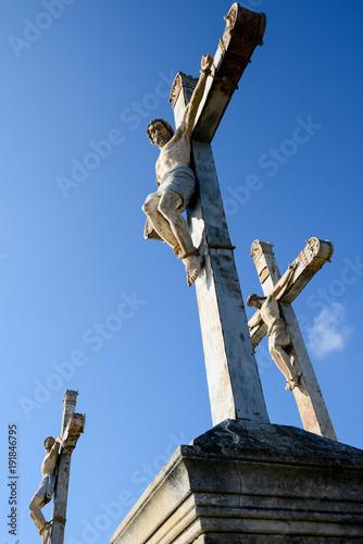 Fotografie, Obraz jesus christ cross calvary statue on golgotha hill christian easter symbol