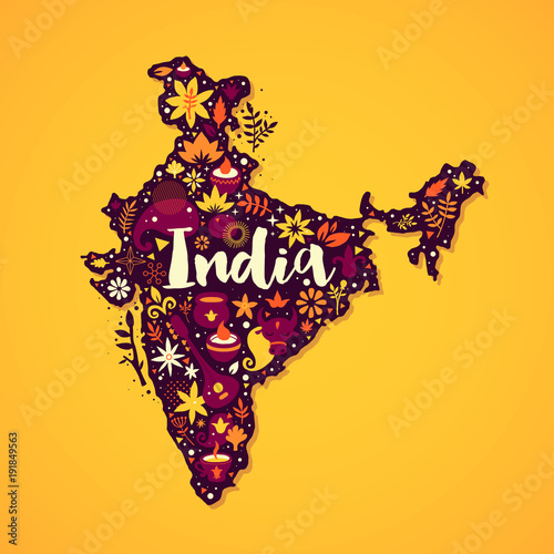Photo Map of India illustration with abstract and national elements