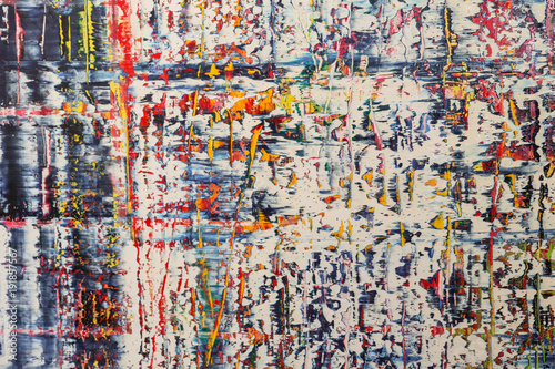 Abstract Painting Art: Strokes with Different Color Patterns like Blue, Red and Yellow