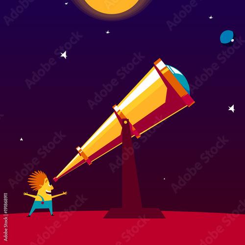 Foto Happy astronomer watching through a telescope
