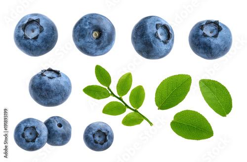 Obraz na plátne Blueberries isolated on white background without shadow set