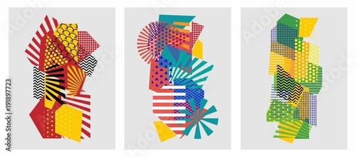 Kolorowi modni geometryczni płascy elementy deseniowy Memphis. Tekstura stylu pop-art. Nowoczesny abstrakcyjny wzór plakat i okładka szablonu