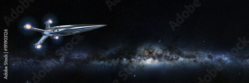 Fotografie, Obraz spaceship in front of the Milky Way galaxy