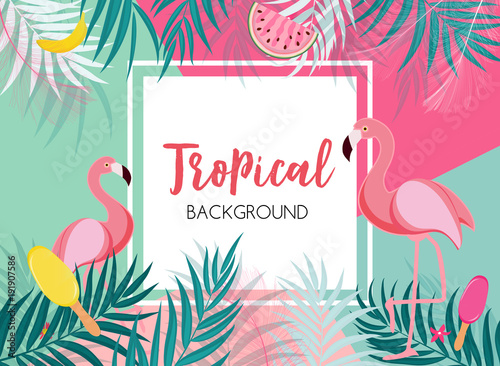 Obraz na plátne Cute Summer Abstract Frame Background with Pink Flamingo Vector Illustration
