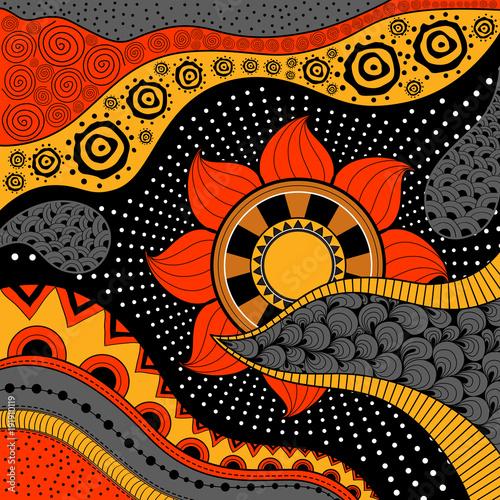 Wallpaper Mural Hand-drawn ethno pattern, tribal background