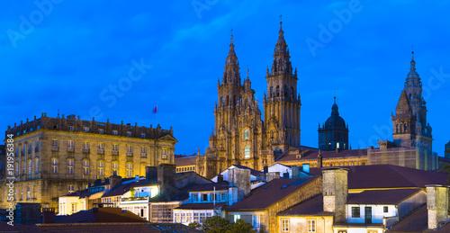 Cuadros en Lienzo Santiago de Compostela Catedral by Night Panorama Galicia Spain