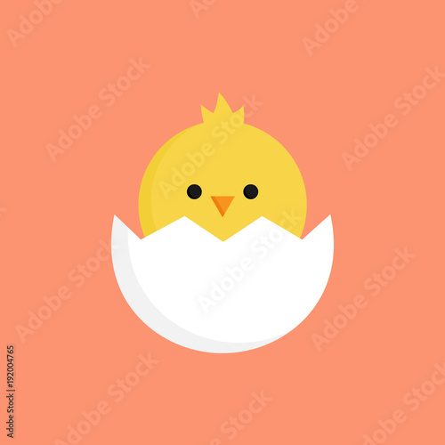 Canvas Print Cute little chick in cracked egg vector graphic illustration