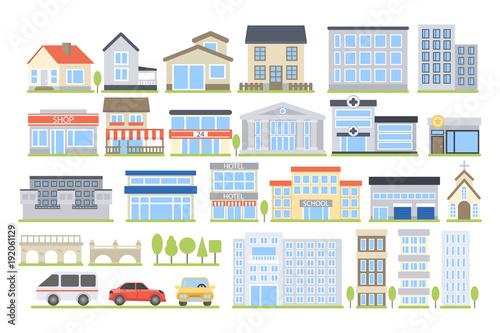 Obraz na plátne City buildings set.