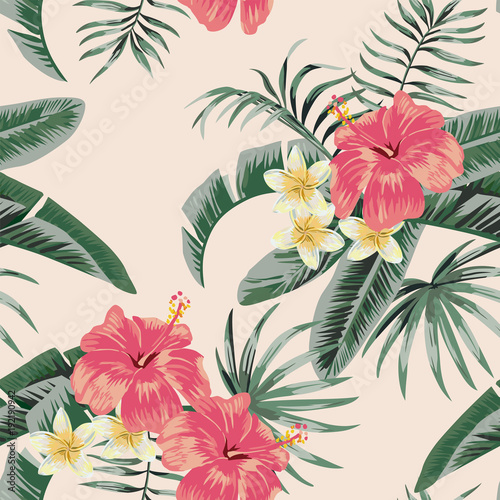 Plumeria hibiscus leaves tropical seamless pattern