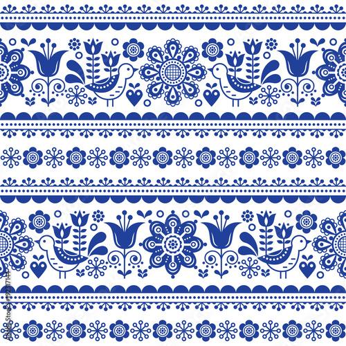 Photo Scandinavian seamless vector pattern with flowers and birds, Nordic folk art rep