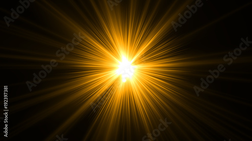 Fotografia glowing abstract sun burst with digital lens flare