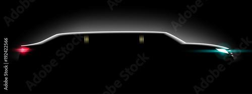 Fotografia Realistic limousine in the dark in the light