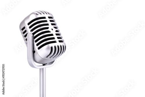Obraz na płótnie Retro microphone isolated on white background