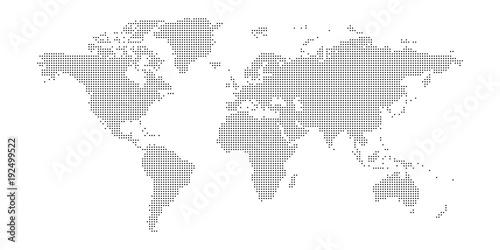 Fototapeta premium Wektor przerywana mapa świata.